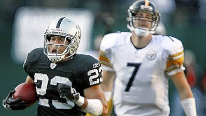 ben in oakland 2006 In his only previous start in Oakland, on Oct. 29, 2006, Ben Roethlisberger threw two interceptions that were returned for touchdowns, including this one for 100 yards by Chris Carr.