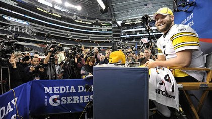Ben Roethlisberger Steelers quarterback Ben Roethlisberger answers questions during Super Bowl Media Day.