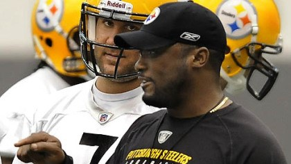 Ben Roethlisberger Steelers quarterback Ben Roethlisberger listens to head coach Mike Tomlin during Wednesday's practice at the team's facility on the South Side.