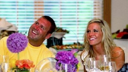 Ben Roethlisberger and Ashley Harlan Ben Roethlisber and Ashley Harlan at their table at this evening's wedding rehearsal and dinner.