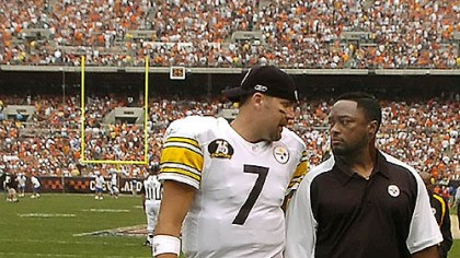 Ben Roethlisberger and Mike Tomlin Steelers head coach Mike Tomlin, right, put more responsibility on Ben Roethlisberger to guide the offense in the 2007 season.