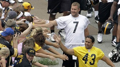 Ben Roethlisberger and Troy Polamalu Steelers safety Troy Polamalu and quarterback Ben Roethlisberger are greeted by fans as they walk to the field at Saint Vincent College in Latrobe in 2012.