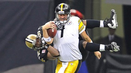 Ben Roethlisberger and Will Smith Defensive lineman Will Smith had one of three of the Saints' sacks against Steelers quarterback Ben Roethlisberger Sunday.