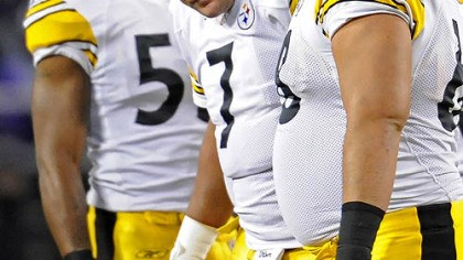 Ben's broken beak Steelers quarterback Ben Roethlisberger is helped off the field after his nose was broken from a punch by the Ravens' Haloti Ngata in Sunday night's game. Ngata was fined $15,000 for the play.