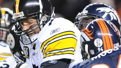 Ben sack Roethlisberger is sacked in the second quarter by the Broncos.