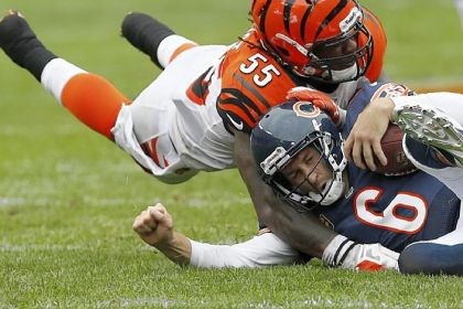 bengals1 Cincinnati Bengals linebacker Vontaze Burfict runs into Chicago Bears quarterback Jay Cutler as Cutler slides for yardage Sunday in Chicago. The Bears won, 24-21.