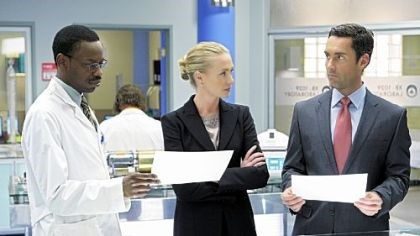 """Better Off Ted"" Tussling with a sensitive racial issue on the comedy ""Better Off Ted"" are, from left, Malcolm Barrett, Portia de Rossi and Jay Harrington."