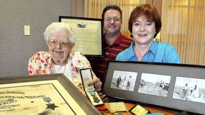 Betty Willey Betty Willey, left, a resident of Asbury Villas in Mt. Lebanon with her nephew Don Willey of Houston, Texas, and Melinda Willey of Sacramento, Calif., display some memorabilias of Betty's uncle John Kirkwood, including a Medal of Honor from the Congress.