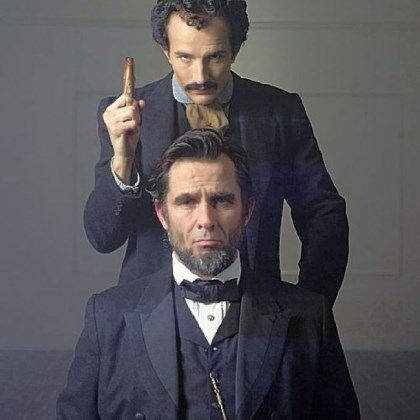 "Billy Campbell and Jesse Johnson Billy Campbell as Abraham Lincoln and Jesse Johnson as John Wilkes Booth in the National Geographic television film ""Killing Lincoln."""