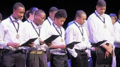 Black Male Leadership Development Institute Graduates of the Black Male Leadership Development Institute recite the organization's pledge and life charge to conclude the Rites of Passage Ceremony Saturday at the August Wilson Center.
