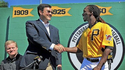 Bob Nutting Andrew McCutchen shake hands Pirates owner Bob Nutting and Andrew McCutchen shake hands at the news conference in Bradenton, Fla. this spring, announcing McCutchen's $51.5 million, six-year contract.