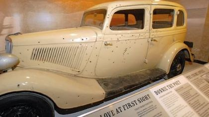 Bonnie and Clyde's car Bonnie and Clyde were two of the most notorious bank robbers in American history. This bullet-ridden 1934 Ford, which is featured in the new National Museum of Crime & Punishment in Washington, D.C., was the couple's death car in the 1967 movie of the same name starring Faye Dunaway and Warren Beatty.
