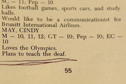 Boom 3 Cindy May Fenger's 1970 high school yearbook mentions that she wanted to teach the deaf.