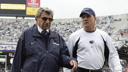 Bradley and Paterno Penn State interim football coach Tom Bradley, right, walks with former Coach Joe Paterno in this 2009 photo.