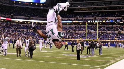 Braylon Edwards Jets wide receiver Braylon Edwards does a flip in celebration of the Jets' 17-16 win against the Colts during their AFC wild card playoff game at Lucas Oil Stadium Jan. 8, 2011.