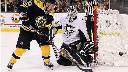 Brent Johnson save against Brad Marchand Brent Johnson makes a save against Boston's Brad Marchand -- one of his 26 in the Penguins' 5-3 victory.