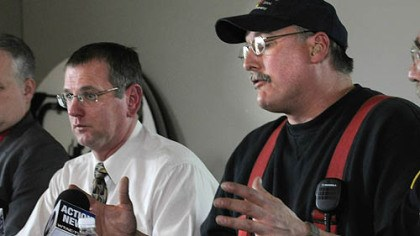 Brockway mayor and fire chief Brockway Mayor William Hrinia, left, and Fire Chief Chris Benson discuss the fatal fire in which 10 people died.