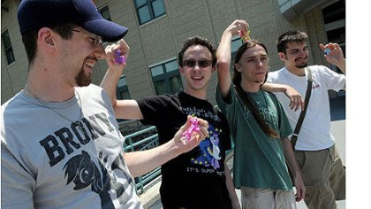 bronies John Drake, left, 24, a graduate student from University of Pennsylvania, Edward Garbade, 19, Kevin Lemon, 21, and Michael McGinnis, 22, all CMU students, are heading to New York for a Brony convention. .