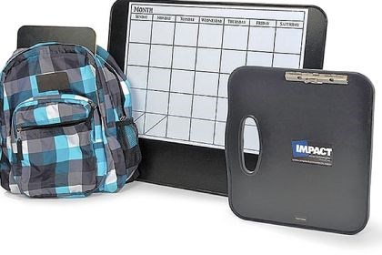 bulletproof products Impact Armor has a line of bulletproof products for school or the office, including, from left, backpacks, desk calendars and clipboards.