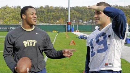 burns2 Former Pitt football player Derrick Burns, left, talks to his friend Ethan Brown at practice Tuesday on the South Side. Burns, who was a redshirt freshman fullback, suffered a stroke in the spring. The 20-year-old is now directing his energies toward helping people who survived strokes and other brain injuries.