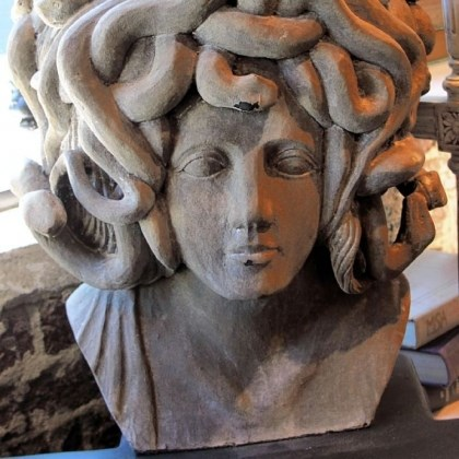 Bust of Medusa Bust of Medusa by Noir is made of driftwood and can crack. It retails for $3,300.
