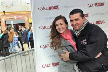 "cake boss and fans ""Cake Boss"" Buddy Valastro, right, poses for a photo with Natasha Wadsworth, 16, of Lower Burrell during today's 10,000-cake giveaway in Market Square."