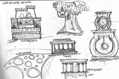Cake design sketch Mr. Rogers' Neighborhood (elements)