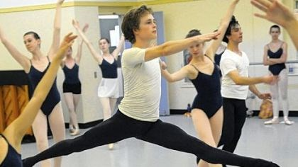 Cameron Clark runs through a routine Senior Cameron Clark, 18, runs through a routine during a dance class at the Pittsburgh Ballet Theatre School.