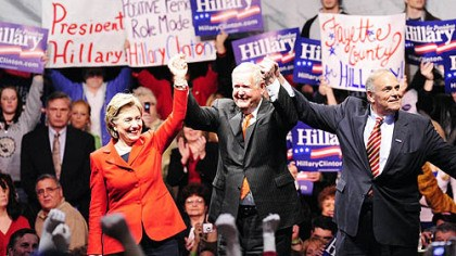 Campaigning in Uniontown Sen. Hillary Rodham Clinton, D-N.Y., campaigns last night with U.S. Rep. John P. Murtha, D-Johnstown, center, and Gov. Ed Rendell at Penn State-Fayette campus near Uniontown.