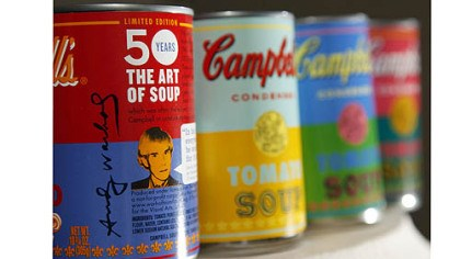 Campbell's tomato soup New limited edition Campbell's tomato soup cans with art and sayings by artist Andy Warhol are displayed at the Campbell Soup Company in Camden, N.J. Campbell plans to introduce the special-edition cans of its condensed tomato soup bearing labels reminiscent of the pop artist's paintings at Target stores beginning on Sunday.