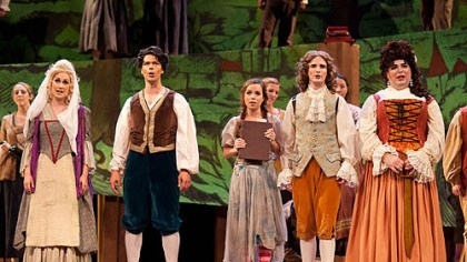 "Candide From left, Abigail Dueppen, Daniel Teadt, Emily Sanchez, Joseph Gaines and Andrey Nemzer in ""Candide."""