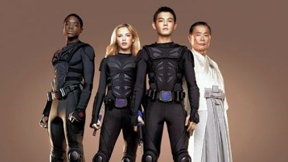 "Carlos Knight, Gracie Dzienny, Ryan Potter, George Takei Carlos Knight, Gracie Dzienny, Ryan Potter, George Takei in ""Supah Ninjas."""