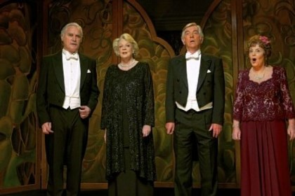 "Cast of ""Quartet"" Billy Connolly, Maggie Smith, Tom Courtenay and Pauline Collins find that some reunions are off-key in ""Quartet."""
