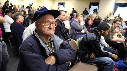 Charles Lytle Charles Lytle, 79, of East Pittsburgh, who has been treated at UPMC Braddock, listens after asking a question concerning the hospital's planned closing during a community meeting last night.