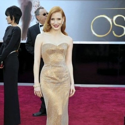 Chastain on red carpet Jessica Chastain's sparkly copper Armani Prive gown set off her hair and complexion.
