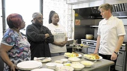 Chef Gordon Ramsay Chef Gordon Ramsay dishes it out to, from left, Jean Gould, Mike Warren and Sharneil Lett at Miss Jean's in the show that airs Nov. 16.