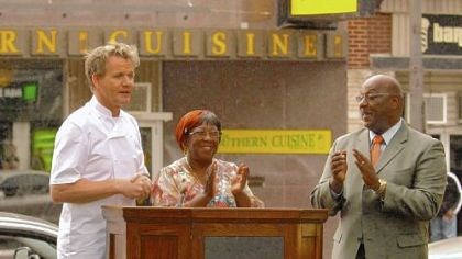 Chef Gordon Ramsay, Jean Gould and Mayor John Thompson During his time at Miss Jean's, above, Chef Gordon Ramsay went outside to the podium, right, with a teary Jean Gould and Wilkinsburg Mayor John Thompson.