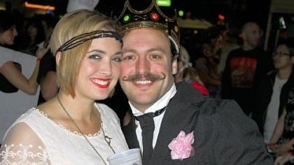 "Chelsea Banks and Adam Causgrove Adam Causgrove and his girlfriend Chelsea Banks at the American Mustache Institute's ""Stache Bash 2012."""