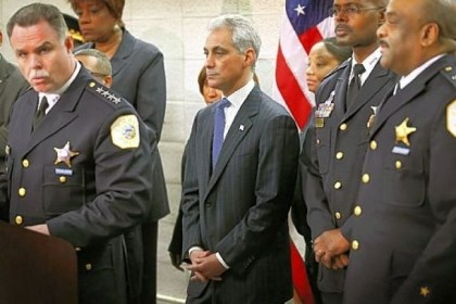 Chicago Mayor Rahm Emanuel Chicago Mayor Rahm Emanuel, center, listens Thursday as police Superintendant Garry McCarthy, left, discusses a plan to reassign 200 police officers from administrative duties back to patrol duties.