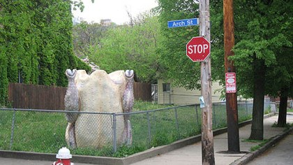 "Chicken sculpture Milwaukee artist Nicolas Lampert drove his ""Attention Chicken!"" sculpture to Pittsburgh for the ""Street With a View"" shoot. It appears at the corner of Arch Street and Sampsonia Way."
