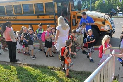 Children arrive Children arrive for the first day of class at Chartiers Valley Primary School last Thursday.
