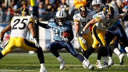 Chris Johnson In two career games, Titans running back Chris Johnson has failed to reach 100 yards rushing against the Steelers.