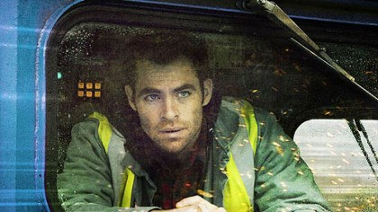 "Chris Pine in ""Unstoppable"" Chris Pine plays a rookie train conductor who works with veteran engineer Denzel Washington, top, to stop an unmanned runaway train in ""Unstoppable."""