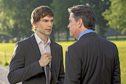 "Christopher Gorham Christopher Gorham, left, portrays a blind CIA agent in ""Covert Affairs."" Also pictured: Peter Gallagher."