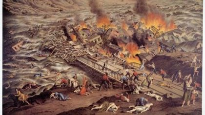 Chromolithograph of the Johnstown Flood of 1889 This chromolithograph of the Johnstown Flood of 1889 was published by Kurz and Allison, a Chicago firm famous for creating historically inaccurate prints of Civil War battles. In this scene, men are fully dressed while women are in their nightgowns even though the flood occurred shortly before 4 p.m.