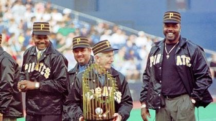 Chuck Tanner Chuck Tanner, manager of the 1979 world champion Pittsburgh Pirates, draws a laugh from players of that team, Dave Parker, right, Steve Nicosia, center, and Omar Moreno, left, as he plays with the championship trophy during a ceremony honoring the 20th anniversary on Saturday, May 29, 1999, in Pittsburgh.