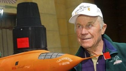 "Chuck Yeager Chuck Yeager poses in a 2003 photo next to a model of the Bell X-1 plane that he used to break the sound barrier for the first time in 1947. He was appearing at the 20th anniversary of the film ""The Right Stuff"" in Hollywood."