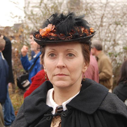 "Civilian re-enactor Christine Zukonski of Bayville, N.Y. has been a Civil War re-enactor for 15 years with her husband, Edward, a member of the 57th Virginia because ""he loves Virginia."" A spectator teased her: ""You could hide a couple Rebels under that dress."""