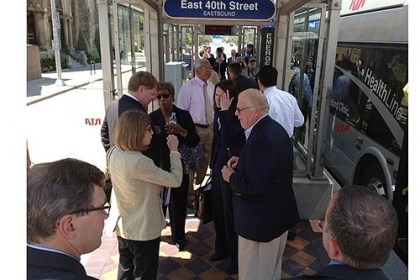 cleveland Allegheny County Executive Rich Fitzgerald visits a station on Cleveland's HealthLine Bus Rapid Transit system on Thursday.