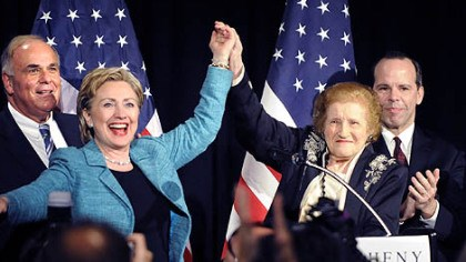 Clinton with Masloff Sen. Hillary Rodham Clinton holds hands with former Pittsburgh Mayor Sophie Masloff at the Allegheny County Democratic Committee dinner at Heinz Field last night. Behind them is Gov. Ed Rendell.
